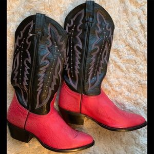 New! Dan Post genuine Ostrich pink black 8 M boots